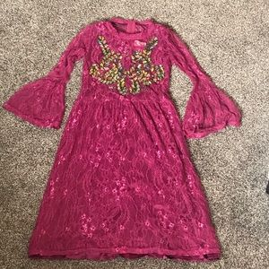 Girls Lace and Beaded Flutter Sleeve Dress